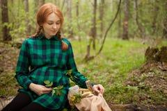Muchacha embarazada en el bosque en una comida campestre Imagen de archivo