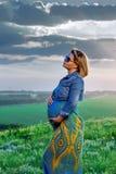 Muchacha embarazada en la naturaleza Fotografía de archivo libre de regalías