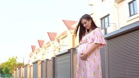 Muchacha embarazada hermosa en un vestido rosado que frota ligeramente su panza en la puesta del sol almacen de video