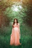Muchacha embarazada hermosa joven con el pelo marrón largo en vestido del melocotón en jardín verde Fotos de archivo libres de regalías