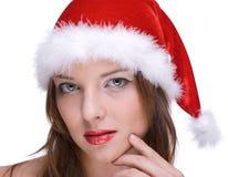 Muchacha emocional en la alineada de Papá Noel Imagen de archivo libre de regalías