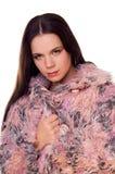 Muchacha en abrigo de pieles Foto de archivo libre de regalías