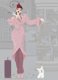 Muchacha en abrigo de pieles rosado con el perro Foto de archivo libre de regalías