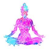 Muchacha en actitud del loto sobre modelo redondo adornado de la mandala Concepto de la yoga Imagen de archivo