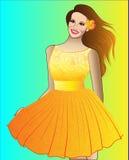 Muchacha en alineada amarilla Imagenes de archivo