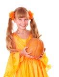 Muchacha en alineada anaranjada   Fotografía de archivo