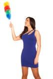 Muchacha en alineada azul Fotografía de archivo libre de regalías