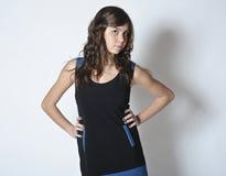 Muchacha en alineada de moda Foto de archivo libre de regalías
