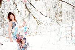 Muchacha en alineada del invierno Imagen de archivo libre de regalías