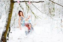 Muchacha en alineada del invierno Imagen de archivo