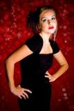Muchacha en alineada negra Imagen de archivo libre de regalías
