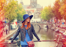 Muchacha en Amsterdam Fotografía de archivo libre de regalías