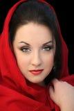 Muchacha en bufanda roja Imágenes de archivo libres de regalías