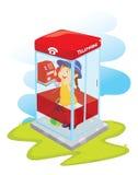 Muchacha en cabina de teléfono Fotografía de archivo