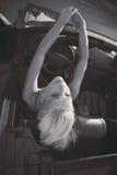 Muchacha en cabriolé Foto de archivo libre de regalías