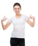 Muchacha en camiseta blanca en blanco Fotos de archivo libres de regalías