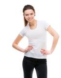 Muchacha en camiseta blanca en blanco Imagen de archivo