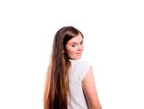 Muchacha en camiseta rayada, mujer hermosa joven, tiro del estudio Fotos de archivo