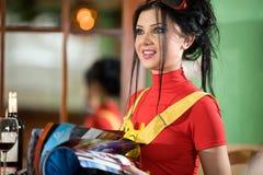 Muchacha en camiseta roja Imágenes de archivo libres de regalías