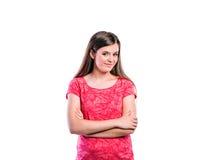 Muchacha en camiseta roja, mujer hermosa joven, tiro del estudio Imagen de archivo libre de regalías