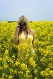 Muchacha en campo amarillo Imágenes de archivo libres de regalías