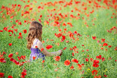 Muchacha en campo de flor Imagenes de archivo