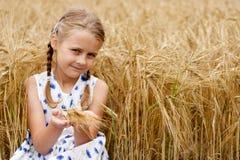 Muchacha en campo de maíz Foto de archivo