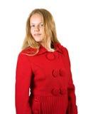 Muchacha en capa roja fotos de archivo