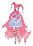 Muchacha en capo motor rojo. Imagen de archivo libre de regalías