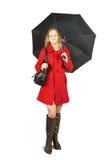 Muchacha en capote con el paraguas fotos de archivo libres de regalías