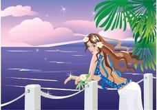 Muchacha en cara de mar tropical libre illustration