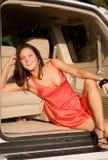 Muchacha en coche Imágenes de archivo libres de regalías