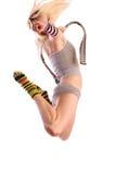 Muchacha en cortocircuitos atractivos y tanque-tapa escotada Imagen de archivo libre de regalías