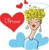 Muchacha en doodley de la tarjeta del amor Foto de archivo libre de regalías