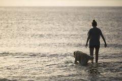 Muchacha en el agua de una playa con su perro Fotografía de archivo