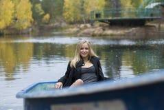 Muchacha en el barco Fotos de archivo