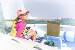 Muchacha en el barco Foto de archivo libre de regalías