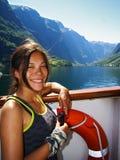 Muchacha en el barco de cruceros Fotografía de archivo libre de regalías