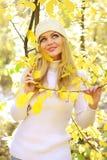 Muchacha en el bosque del otoño Foto de archivo