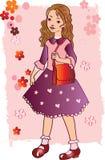Muchacha en el color de rosa imagenes de archivo