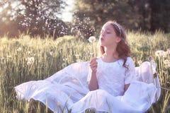 Muchacha en el dundelion blanco del soplo del vestido Foto de archivo libre de regalías