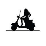 Muchacha en el ejemplo de la silueta del moto Imagen de archivo