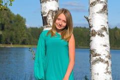 Muchacha en el lago Imagen de archivo libre de regalías