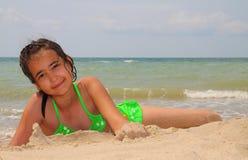 Muchacha en el mar Foto de archivo libre de regalías
