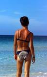Muchacha en el mar del Caribe Imagen de archivo libre de regalías