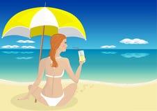 Muchacha en el mar que bebe una bebida stock de ilustración