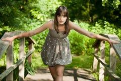 Muchacha en el puente Fotos de archivo libres de regalías