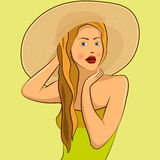 Muchacha en el sombrero Imagen de archivo libre de regalías
