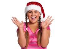 Muchacha en el sombrero de Santa Fotos de archivo