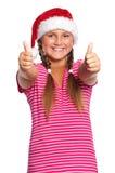 Muchacha en el sombrero de Santa Foto de archivo libre de regalías